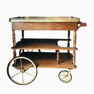 Vintage Oak & Brass Serving Bar Cart, 1960s