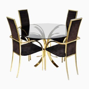 Regency Esszimmer Set aus Messing von Belgo Chrom, 1970er