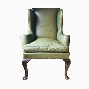 Antique Olive Green Leather Wingback Armchair