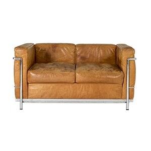 LC2 Cognac Leather Sofa by Le Corbusier for Cassina, 1980s