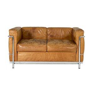 Sofá LC2 de cuero coñac de Le Corbusier para Cassina, años 80