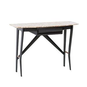 Table Console Vintage en Bois, Laiton et Marbre Onyx de La Permanente Mobili Cantù, Italie