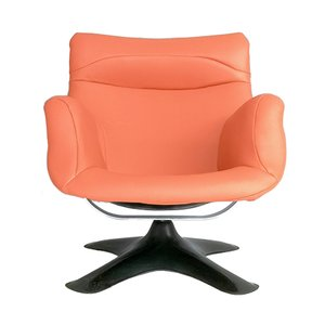 Karuselli Orange Leather Lounge Chair by Yrjö Kukkapuro for Haimi, 1960s