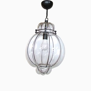 Lanterna veneziana in vetro soffiato e metallo, anni '80