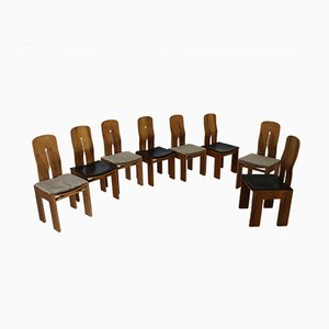 Model 1934/765 Walnut Chairs by Carlo Scarpa for Bernini, 1977, Set of 8