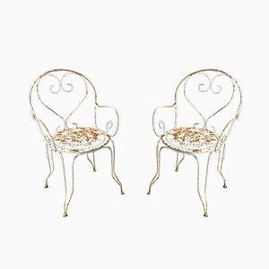 Chaises de Jardin Vintage en Fer Forgé, Set de 2