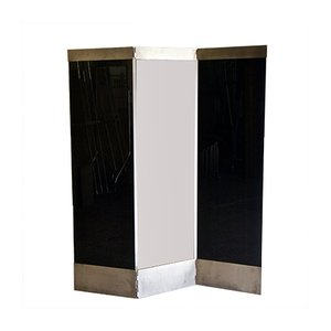 Biombo de vidrio negro y acero, años 80