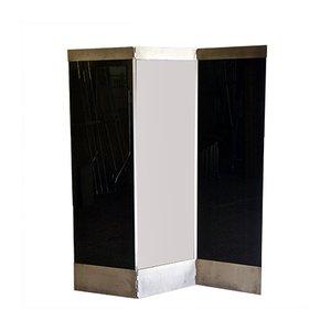 Raumteiler aus Stahl & schwarzem Glas, 1980er