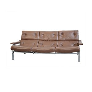 Brown Leather Sofa by Tim Bates for Pieff, 1970s
