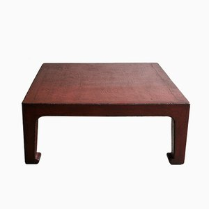Grande Table Basse Antique Laquée Rouge, Chine