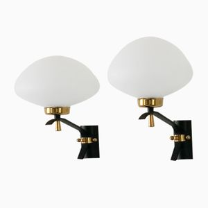 Vintage Opaline & Brass Wall Lights from Arlus, 1950s, Set of 2