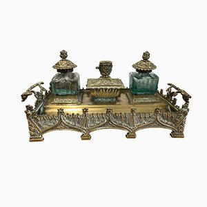 Antique Gothic Brass Inkwell