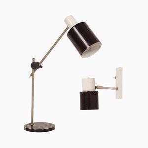 Lámpara de mesa y de pared de Hala, años 60. Juego de 2