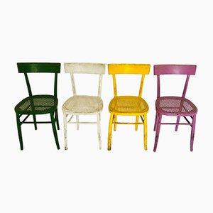 Mehrfarbige italienische Vintage Stühle, 4er Set