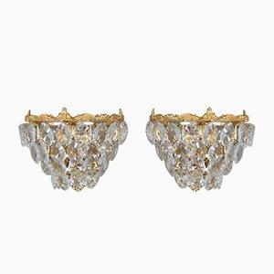 Applique in ottone dorato e cristallo di Palwa, anni '60, set di 2