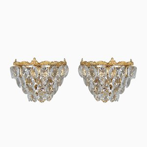 Gilded Brass & Crystal Glass Wall Sconces from Palwa, 1960s, Set of 2