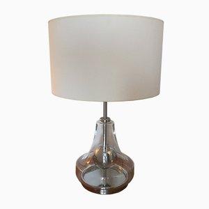 Lámpara de vidrio y metal cromado, años 70