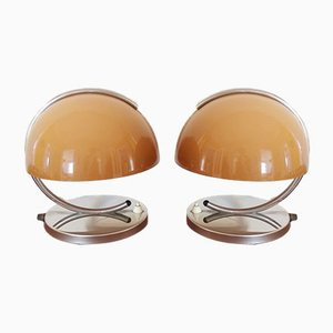Mid Century Tischlampen in Braun von Luigi Massoni für Harvey Guzzini, 1970er, 2er Set