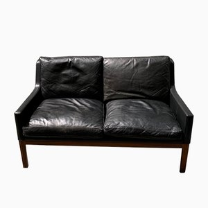Mid-Century Danish Rio Palisander & Black Leather Sofa by Kai Lyngfeldt Larsen for Søren Willadsen