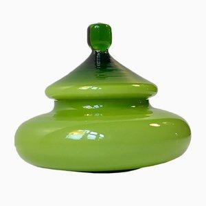Moderne grüne Mid-Century Schmuckdose aus Glas von Empoli, 1960er