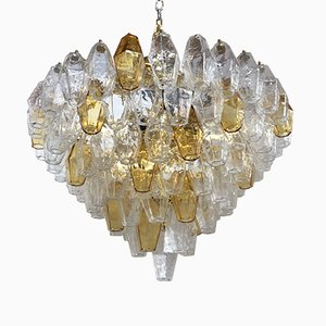 Transparent, Amber and Gold Murano Glass Poliedro Chandelier from Italian light design
