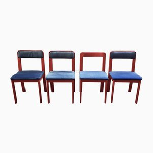 Italian Red Plastic Chairs by Ascoli Piceno from Fain SPA, 1970s, Set of 4