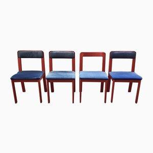 Rote italienische Stühle aus Kunststoff von Ascoli Piceno von Fain SPA, 1970er, 4er Set