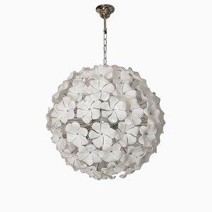 Lampadario con fiori di loto in vetro di Murano bianco di Italian light design