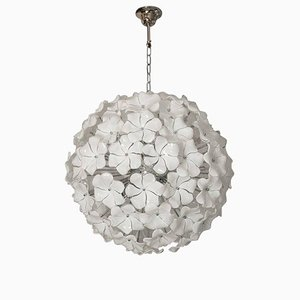 Murano Glass White Lotus Flower Chandelier from Italian light design