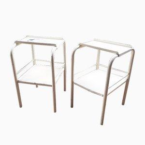 Tables de Chevet Vintage en Métal Blanc, Set de 2