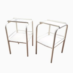 Vintage White Metal Bedside Tables, Set of 2