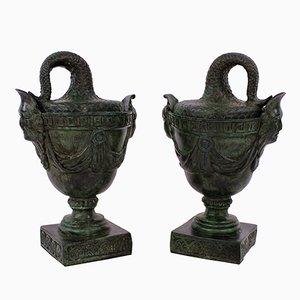 Antique Bronze Tazzas, 1900s, Set of 2