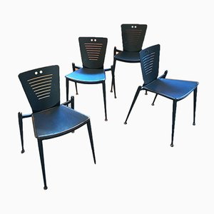 Leather and Metal Dining Chairs by Ronald Cecil Sportes for Tecno, 1980s, Set of 4