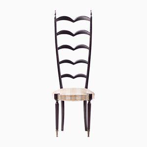 Schwarzer italienischer Chiavari Stuhl mit hoher Rückenlehne, 1950er
