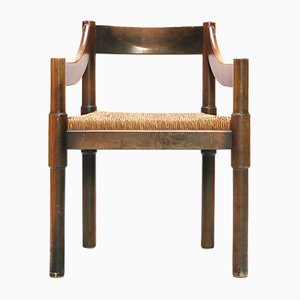 Italienischer Beistellstuhl aus Holz von Vico Magistretti für Cassina, 1960er
