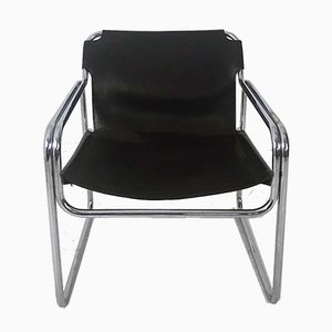 Vintage Leather & Tubular Steel Armchair, 1960s