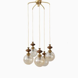 Brass, Glass & Wood Cascade Lamp, 1970s