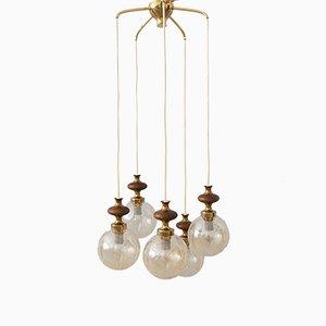 Kaskadenlampe aus Messing, Glas & Holz, 1970er