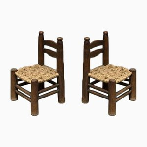 Small Wooden Chairs, 1940s, Set of 2