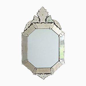 Antiker achteckiger venezianischer Spiegel mit Kartusche