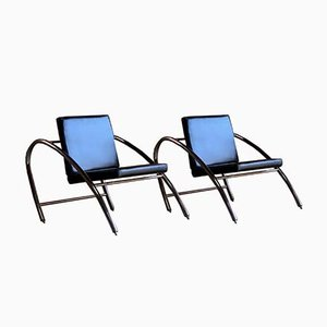 Moreno Chrome & Leather Lounge Chairs by Francois Scali & Alain Domingo for Nemo, 1980s, Set of 2