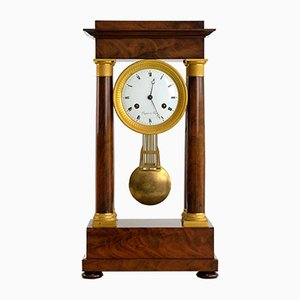 Antique French Empire Gridiron Walnut Mantel Clock from Coquet a Paris