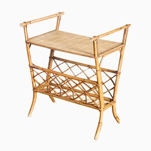 French Bamboo Side Table with Magazine Rack, 1960s