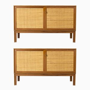 Vintage Teak & Rattan Sideboards by Alf Svensson for Bjästa, Set of 2