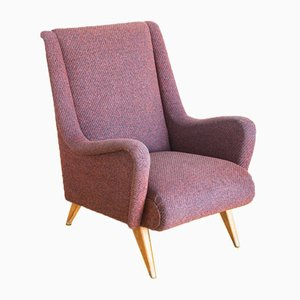 French Wool & Oak Armchair, 1960s