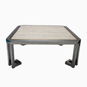 Vintage Chrome, Brass & Travertine Coffee Table