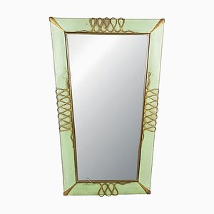 Italian Aquamarine Perforated Metal & Brass Wall Mirror, 1940s