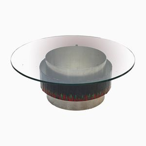 French Steel, Enamel & Glass Coffee Table, 1960s