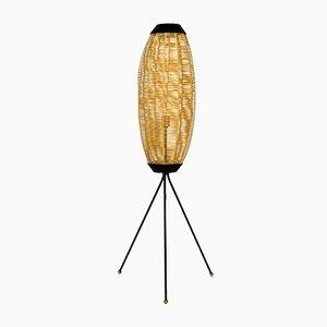 Dreibeinige Mid-Century Stehlampe mit Schirm aus Kunststoff
