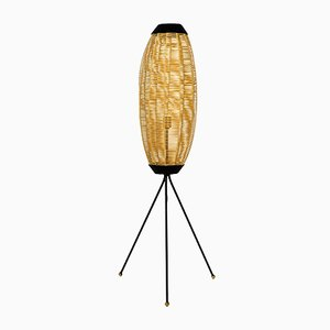 Mid-Century Tripod Floor Lamp with Plastic Shade